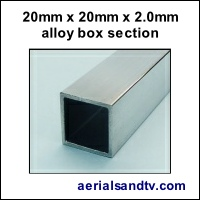 20mm x 20mm x 2mm box section alloy 200Sq