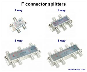 F connector splitters 2 4 6 and 8 way 625W L5