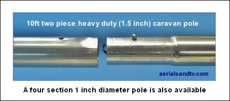 Heavy duty 2 piece 1.5 inch diameter caravan pole 454W L5