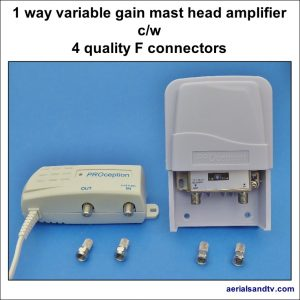 Mast head amplifier 1 way with 4 quality F connectors 764Sq L5