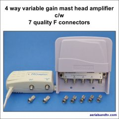Mast head amplifier 4 way with 7 quality F connectors 764Sq L5