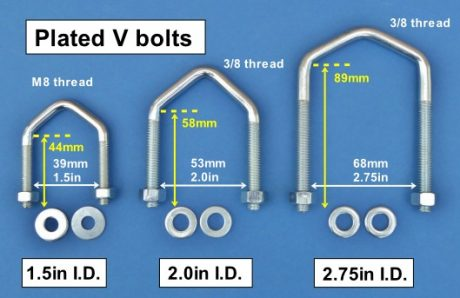 Plated V bolts 1.5in 2.0in 2.75in 530W text L10
