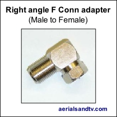 Right angle F connector adapter male to female 234H L5