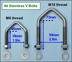 Stainless V bolts 1.5in and 2.0in 301W L10