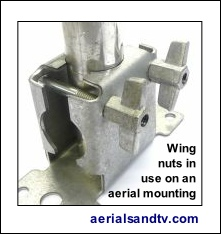 Use of wingnuts on a two way surface bracket 234 H L5