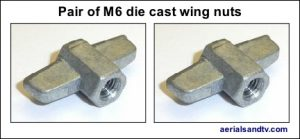 Wing nut die cast M6 (pair of) 432W L5