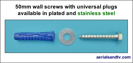 50mm wall screws with universal plugs available in plated or stainless 469W L5