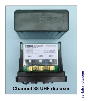 Channel 38 UHF TV diplexer 400H L5