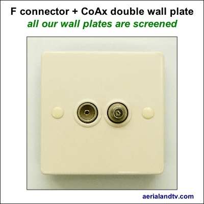 F connector plus CoAx double wall plate screened 400Sq L5