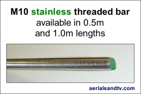 M10 stainless steel threaded bar 490W L5