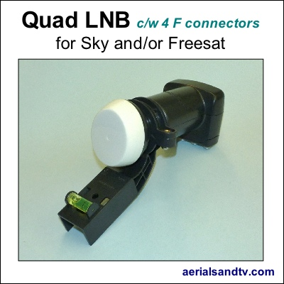 Quad LNB for Sky or Freesat cw 4 F connectors 400Sq L5