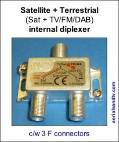 Satellite + terrestrial (TV+FM+DAB) internal diplexer 374H L5