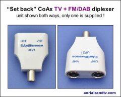 Set back CoAx TV + TV - FM diplexer 408W L5