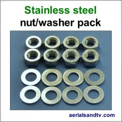 Stainless steel M10 nut and washer pack 460Sq L5