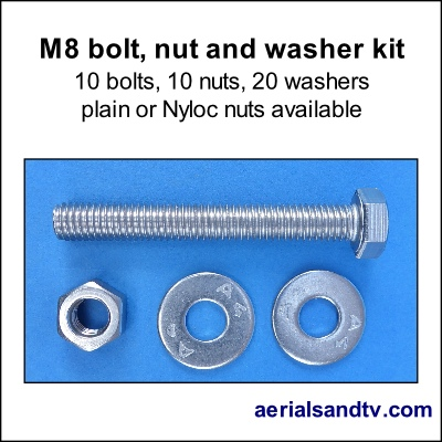 Stainless steel M8 bolt, nut and washer kit 400Sq L5