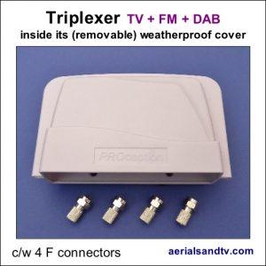 Triplexer TV + FM + DAB cw 4 F connectors 495Sq