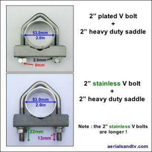 V bolts 2 inch (plated and stainless) cw saddles 450Sq L5