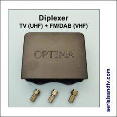 VHF + UHF diplexer (TV + FM-DAB) cw 3 F connectors 430Sq L5