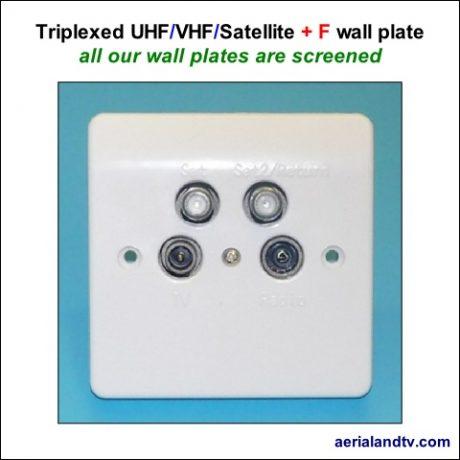 Wall plate Quad triplexed VHF-UHF-Satellite plus F conn 480Sq L5