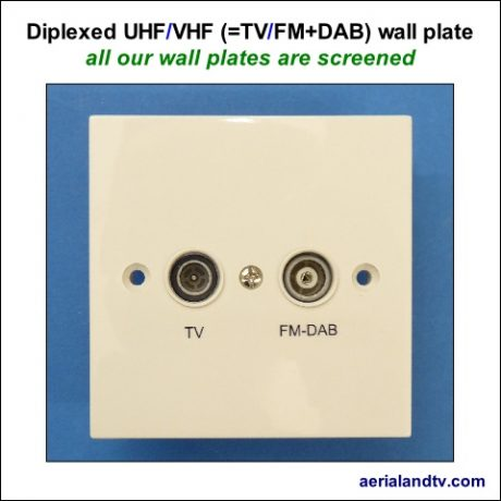 Wall plate diplexed VHF-UHF eq TV-FM and DAB 480Sq L5