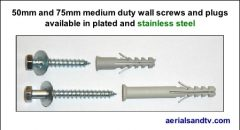 Wall screws and standard plugs 20mm and 75mm plated and stainless 449W L5