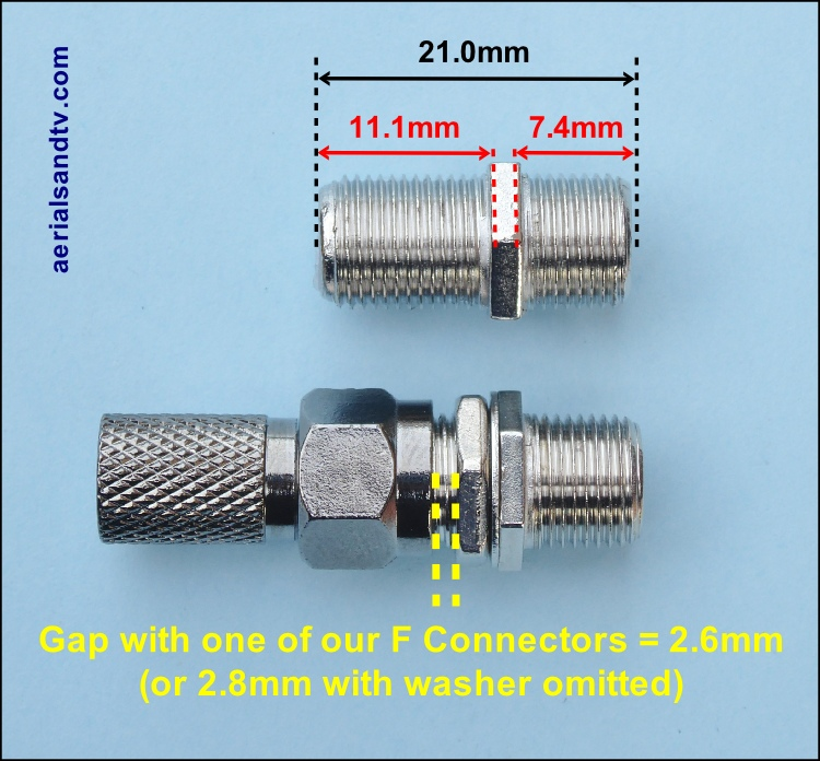 F connector back to back female to female coupler with nut and washer with dimensions 500H L5