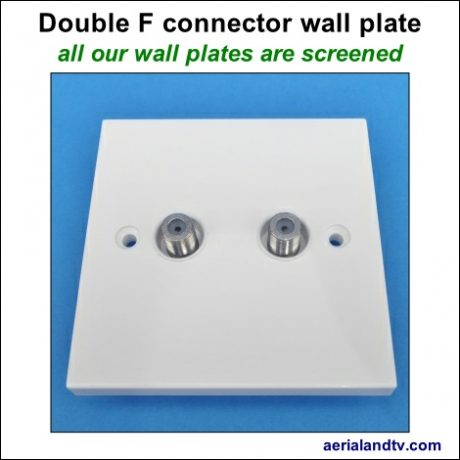 F connector double wall plate screened 470Sq L5